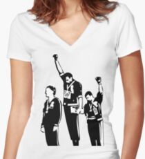 1968 Olympics Black Power Salute Women's Fitted V-Neck T-Shirt
