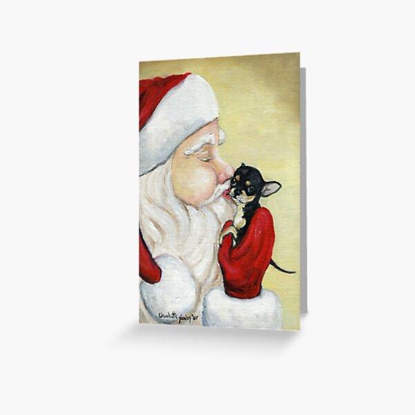 Santa's Kiss for Chihuahua Puppy Greeting Card