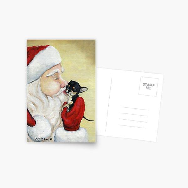 Santa's Kiss for Chihuahua Puppy Postcard