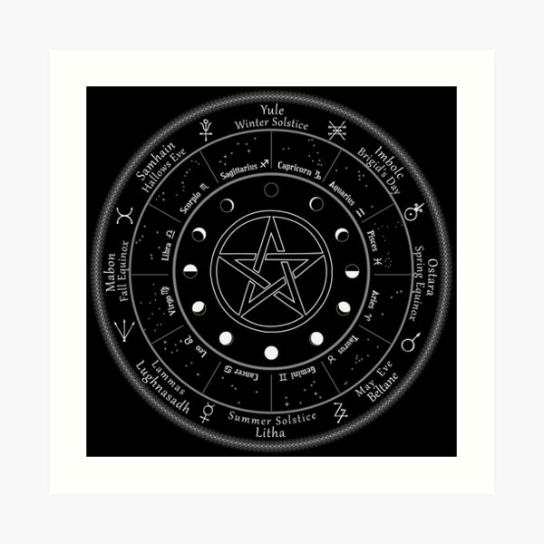 Pagan Calendar Wheel of The Year Art Print