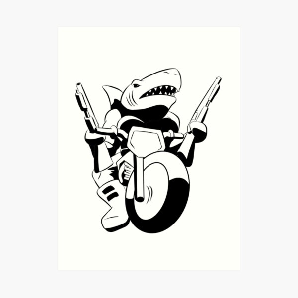 Bike shark with two guns Art Print