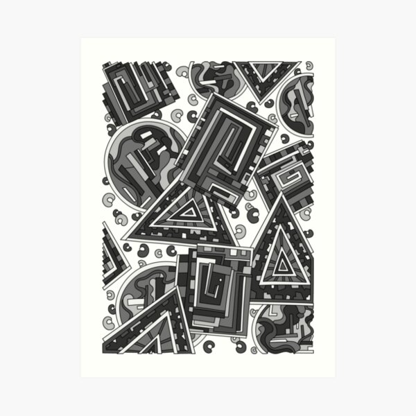 Wandering Abstract Line Art 15: Grayscale Art Print