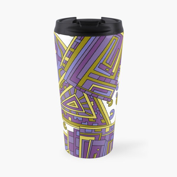 Wandering Abstract Line Art 15: Purple Travel Mug