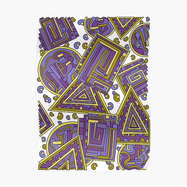 Wandering Abstract Line Art 15: Purple Poster