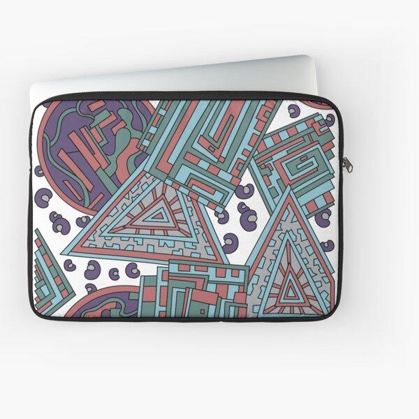 Wandering Abstract Line Art 15: Blue Laptop Sleeve