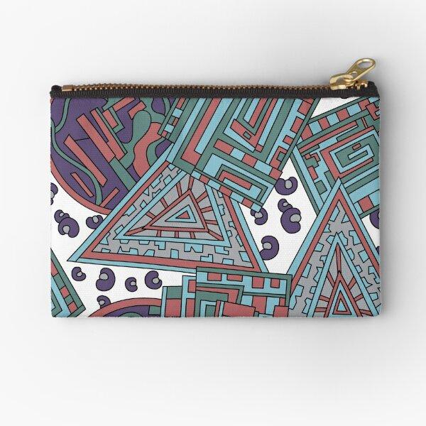 Wandering Abstract Line Art 15: Blue Zipper Pouch