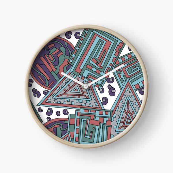 Wandering Abstract Line Art 15: Blue Clock