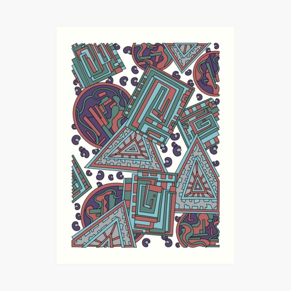 Wandering Abstract Line Art 15: Blue Art Print