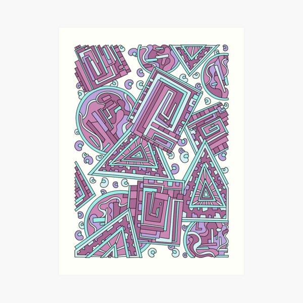 Wandering Abstract Line Art 15: Pink Art Print
