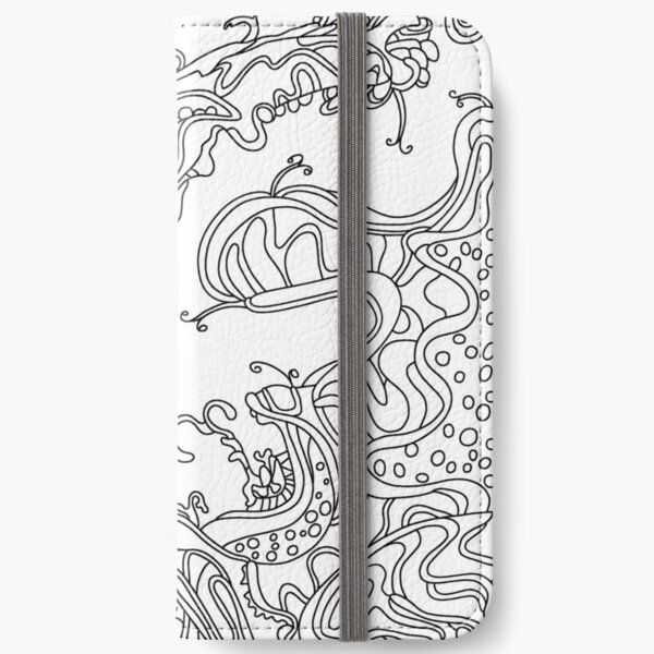 Wandering Abstract Line Art 16: Black & White iPhone Wallet