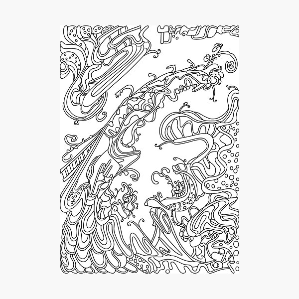 Wandering Abstract Line Art 16: Black & White Photographic Print