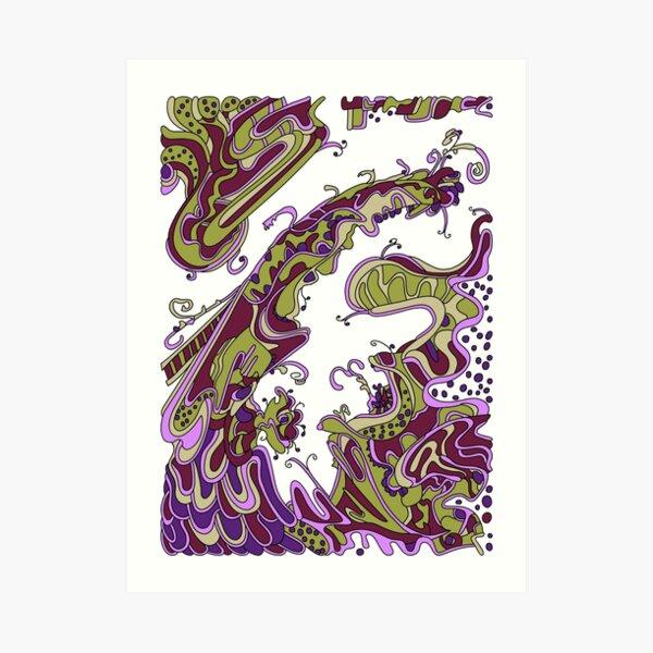 Wandering Abstract Line Art 16: Purple Art Print