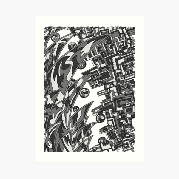 Wandering Abstract Line Art 18: Grayscale Art Print