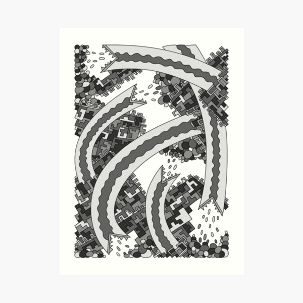 Wandering Abstract Line Art 19: Grayscale Art Print