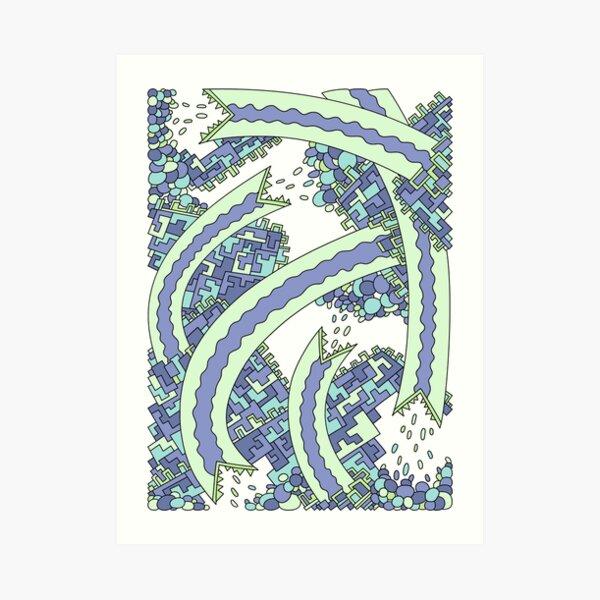 Wandering Abstract Line Art 19: Green Art Print