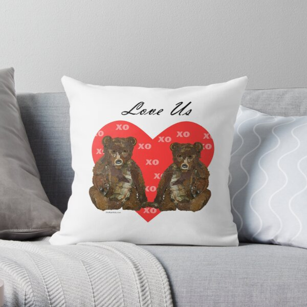 Two Bears with Heart Throw Pillow