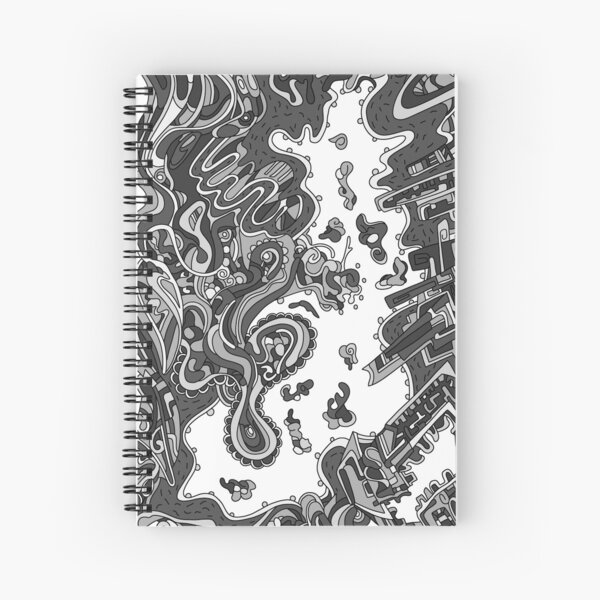 Wandering Abstract Line Art 20: Grayscale Spiral Notebook
