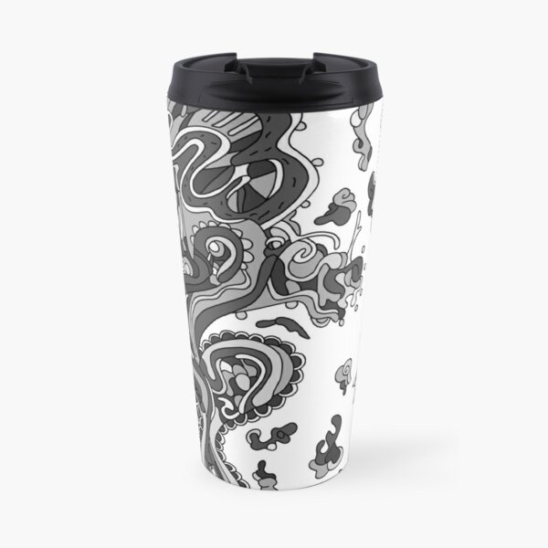 Wandering Abstract Line Art 20: Grayscale Travel Mug