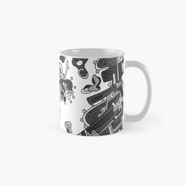 Wandering Abstract Line Art 20: Grayscale Classic Mug