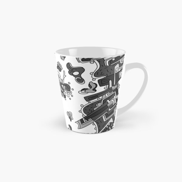 Wandering Abstract Line Art 20: Grayscale Tall Mug