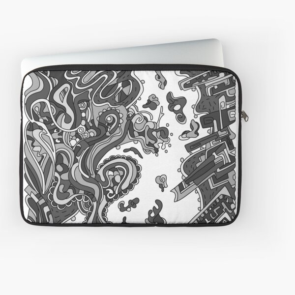 Wandering Abstract Line Art 20: Grayscale Laptop Sleeve