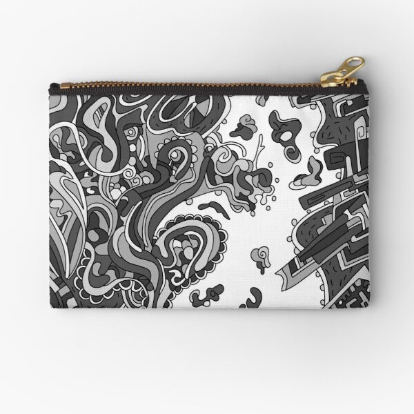 Wandering Abstract Line Art 20: Grayscale Zipper Pouch