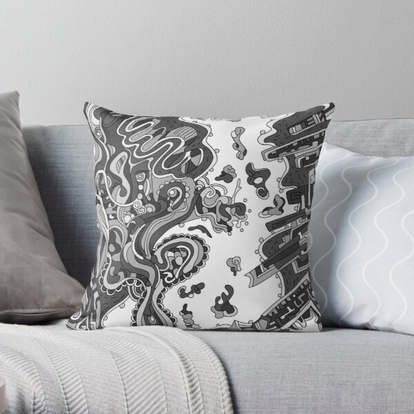 Wandering Abstract Line Art 20: Grayscale Throw Pillow