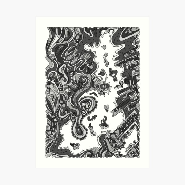 Wandering Abstract Line Art 20: Grayscale Art Print