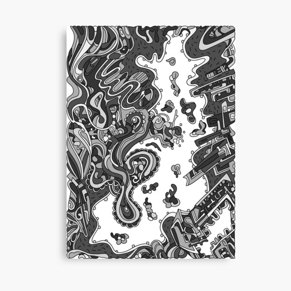 Wandering Abstract Line Art 20: Grayscale Canvas Print