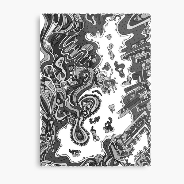 Wandering Abstract Line Art 20: Grayscale Metal Print