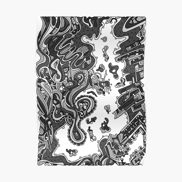 Wandering Abstract Line Art 20: Grayscale Poster