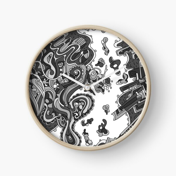 Wandering Abstract Line Art 20: Grayscale Clock