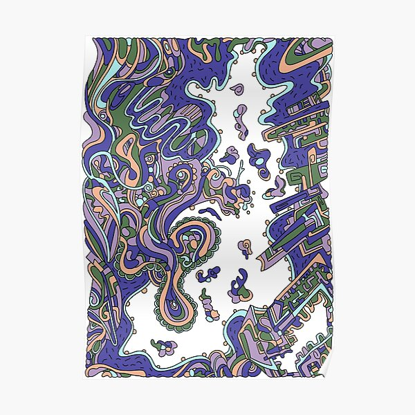 Wandering Abstract Line Art 20: Purple Poster
