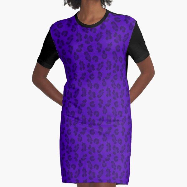 Leopard Print Purple Graphic T-Shirt Dress