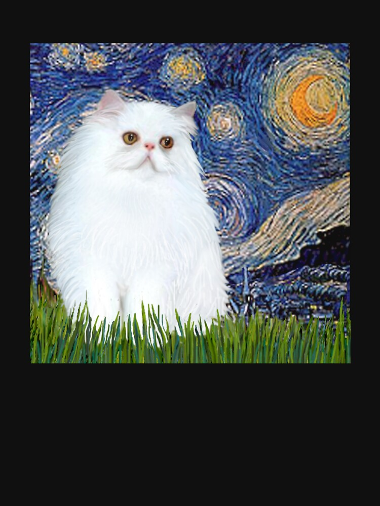 Starry Night (Van Gogh)-with a White Persian Kitten by JeanBFitzgerald