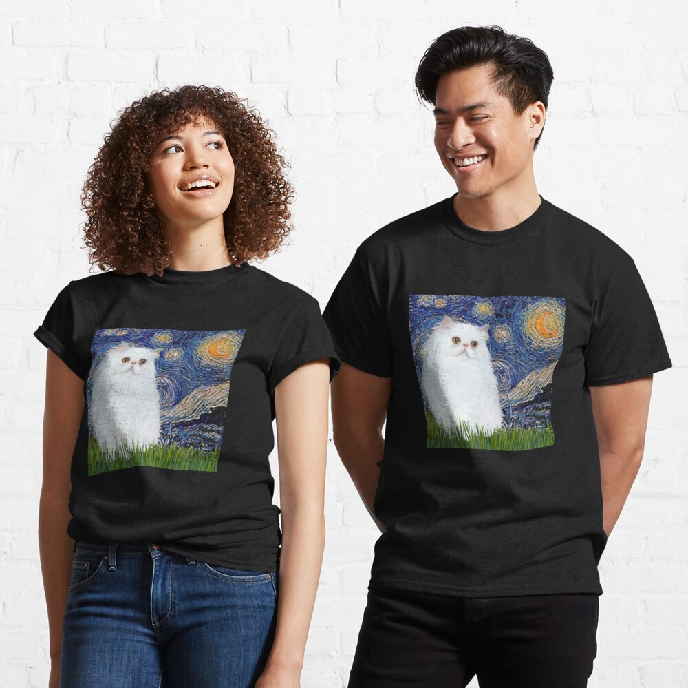 Starry Night (Van Gogh)-with a White Persian Kitten Classic T-Shirt