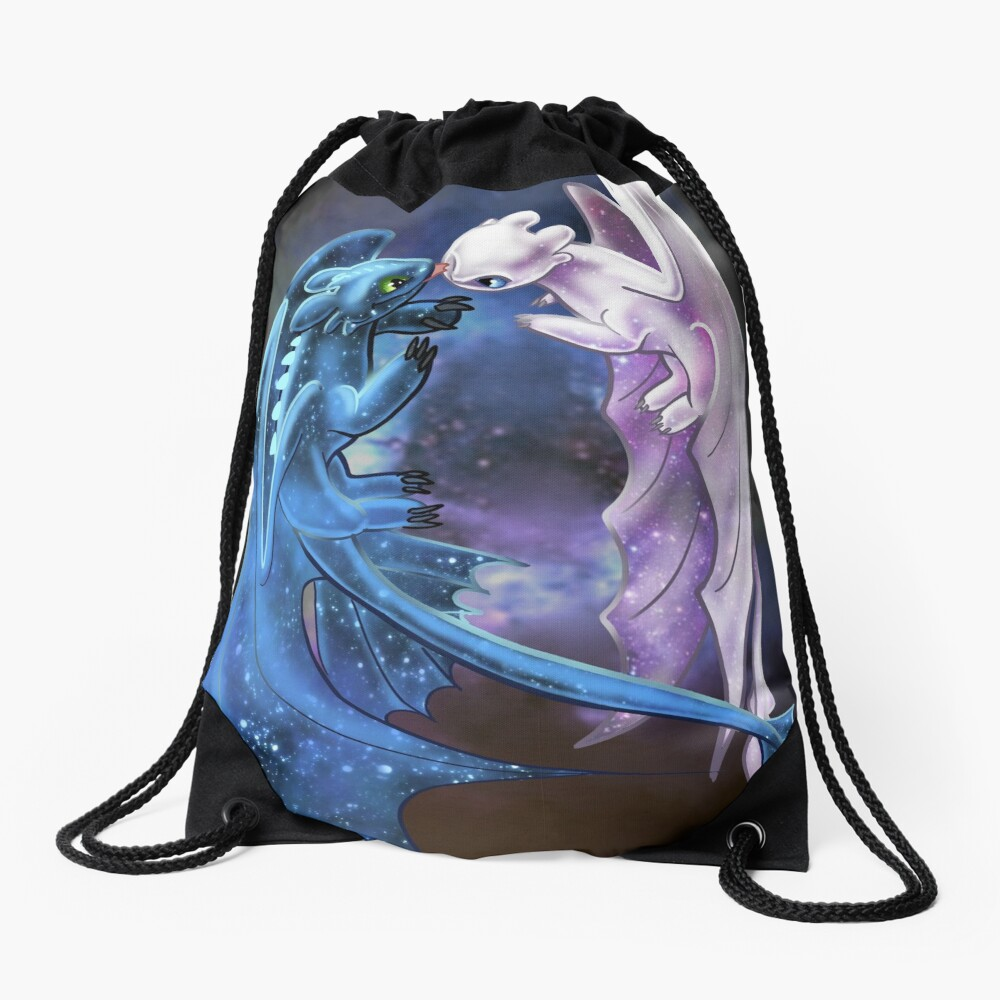 Dragon Heart - Starry Dragons - Toothless and Light Fury Drawstring Bag