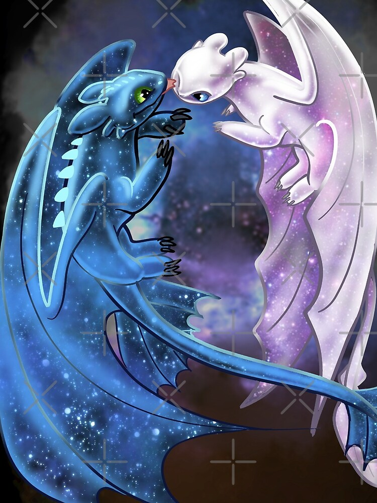Dragon Heart - Starry Dragons - Toothless and Light Fury by Unicornarama