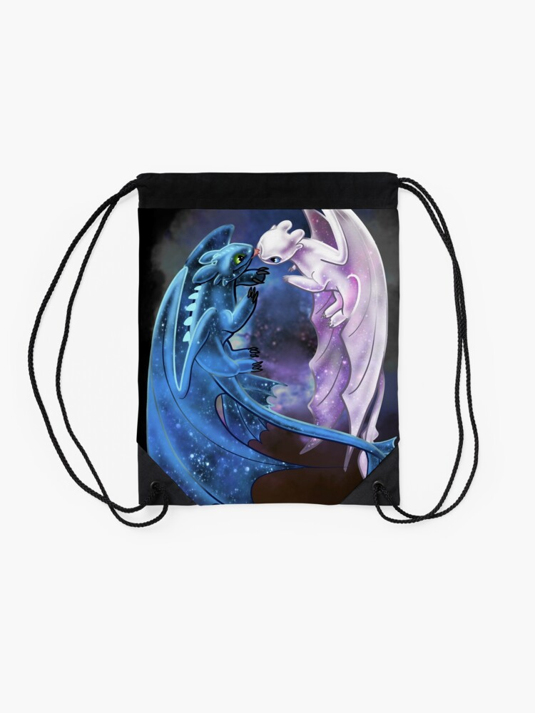 Alternate view of Dragon Heart - Starry Dragons - Toothless and Light Fury Drawstring Bag