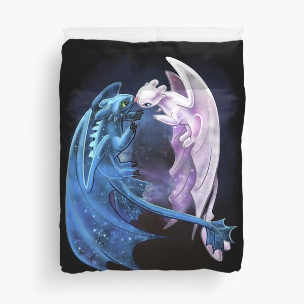 Dragon Heart - Starry Dragons - Toothless and Light Fury Duvet Cover