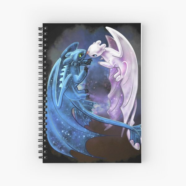 Dragon Heart - Starry Dragons - Toothless and Light Fury Spiral Notebook