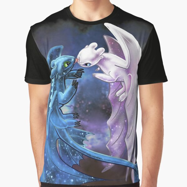 Dragon Heart - Starry Dragons - Toothless and Light Fury Graphic T-Shirt