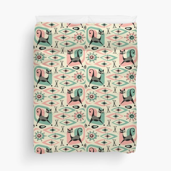 Mid Century Cat Abstract Duvet Cover