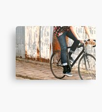 Fixie cycling in Melbourne Metal Print