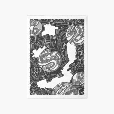Wandering Abstract Line Art 21: Grayscale Art Board Print