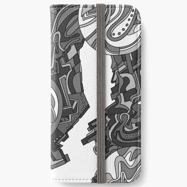 Wandering Abstract Line Art 21: Grayscale iPhone Wallet
