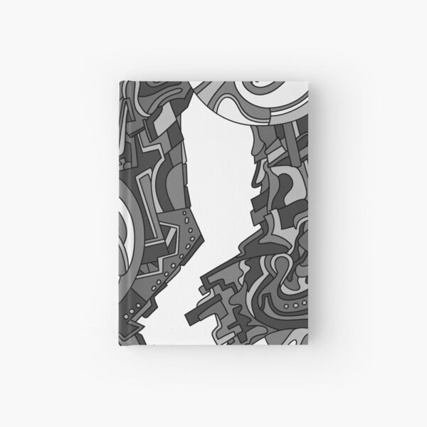 Wandering Abstract Line Art 21: Grayscale Hardcover Journal