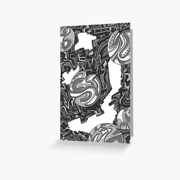 Wandering Abstract Line Art 21: Grayscale Greeting Card