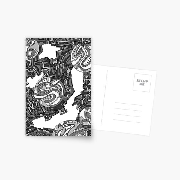 Wandering Abstract Line Art 21: Grayscale Postcard