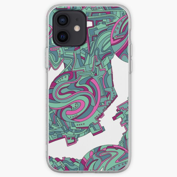 Wandering Abstract Line Art 21: Green iPhone Soft Case